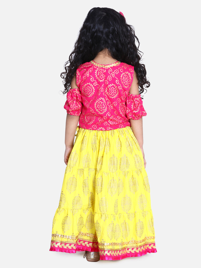Block Print Cold Shoulder Lehenga Choli- Pink