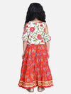 Block Print Cold Shoulder Lehenga Choli- White