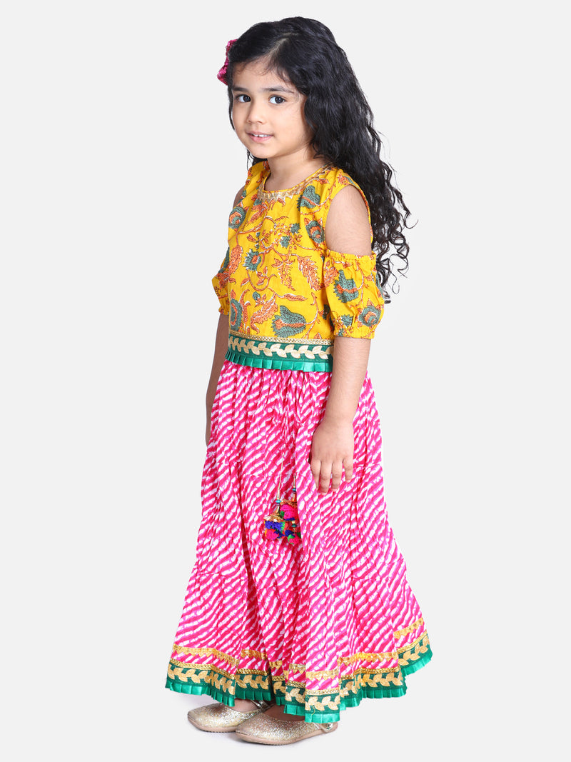 Block Print Cold Shoulder Lehenga Choli- Yellow