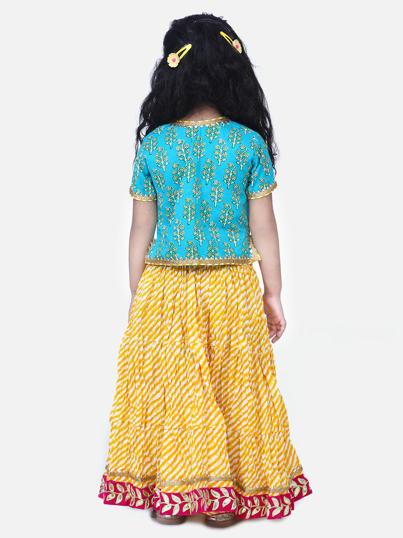 Block Print Front Open Cotton Skirt Top-Green