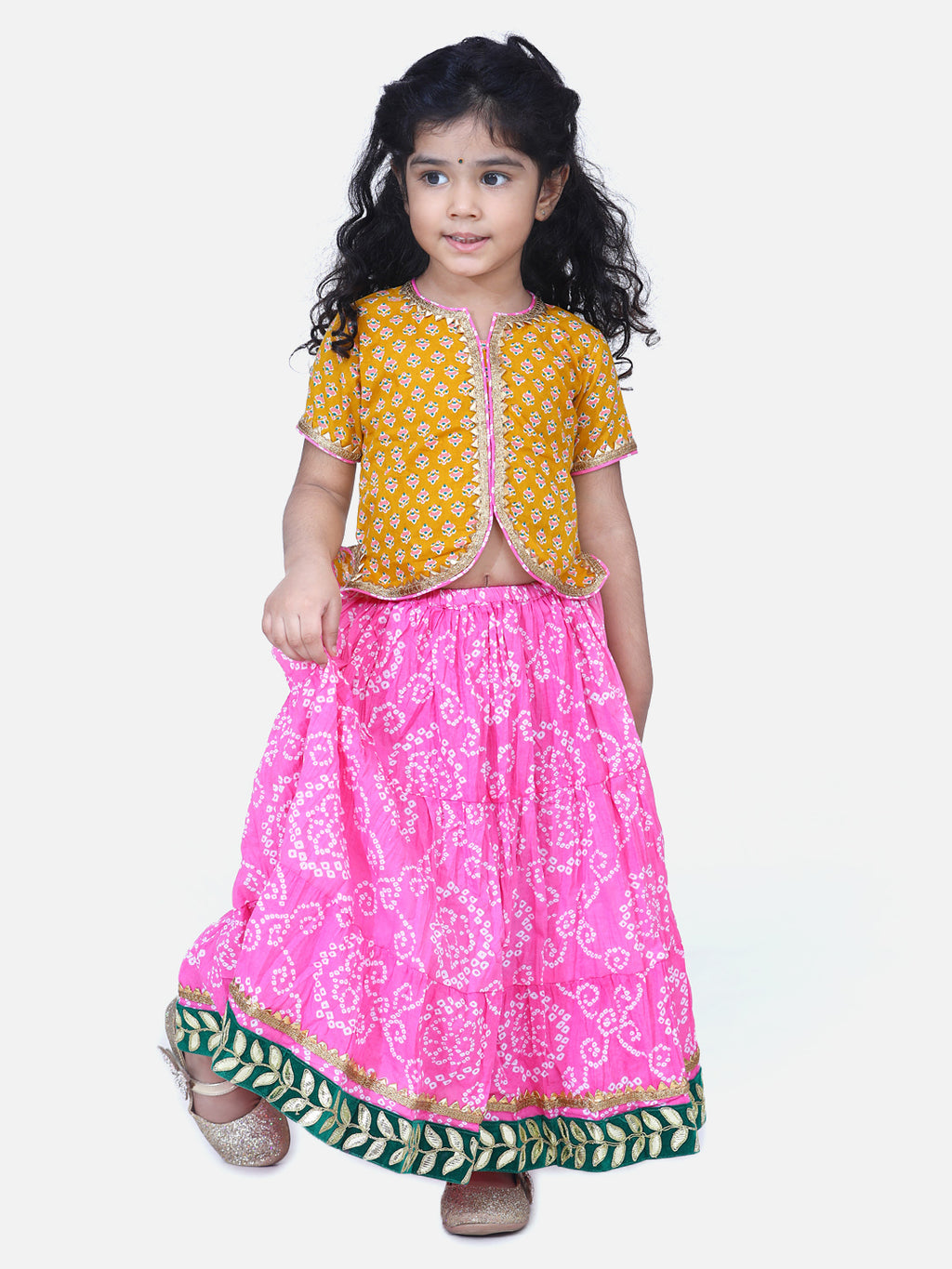Block Print Front Open Cotton Skirt Top-Yellow