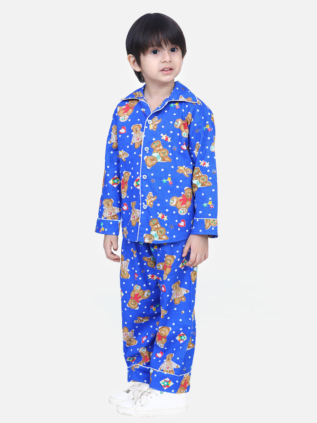 Full Sleeve Printed Night Suit-Blue