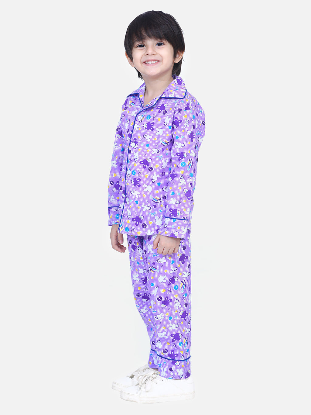 Full Sleeve Printed Night Suit- Purple