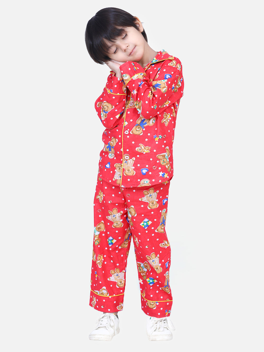 Full Sleeve Printed Night Suit- Red