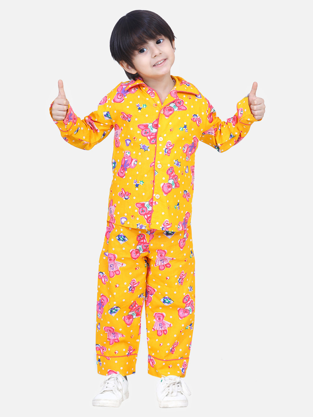 Full Sleeve Printed Night Suit- Yellow
