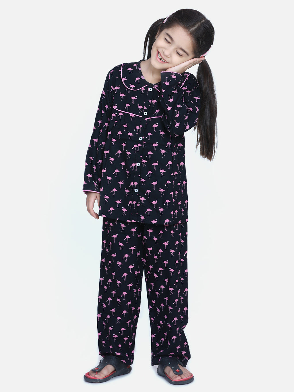 BownBee Girls Full Sleeve Printed Night Suit- Navy Blue