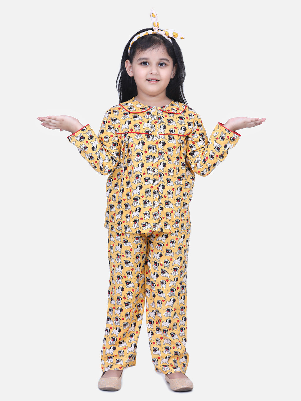 BownBee Girls Full Sleeve Printed Night Suit- Orange