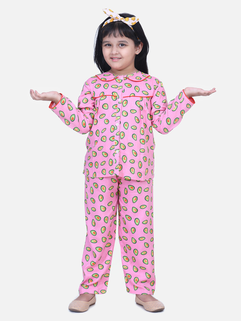 BownBee Girls Full Sleeve Printed Night Suit- Pink