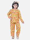 BownBee Girls Full Sleeve Printed Night Suit- Yellow