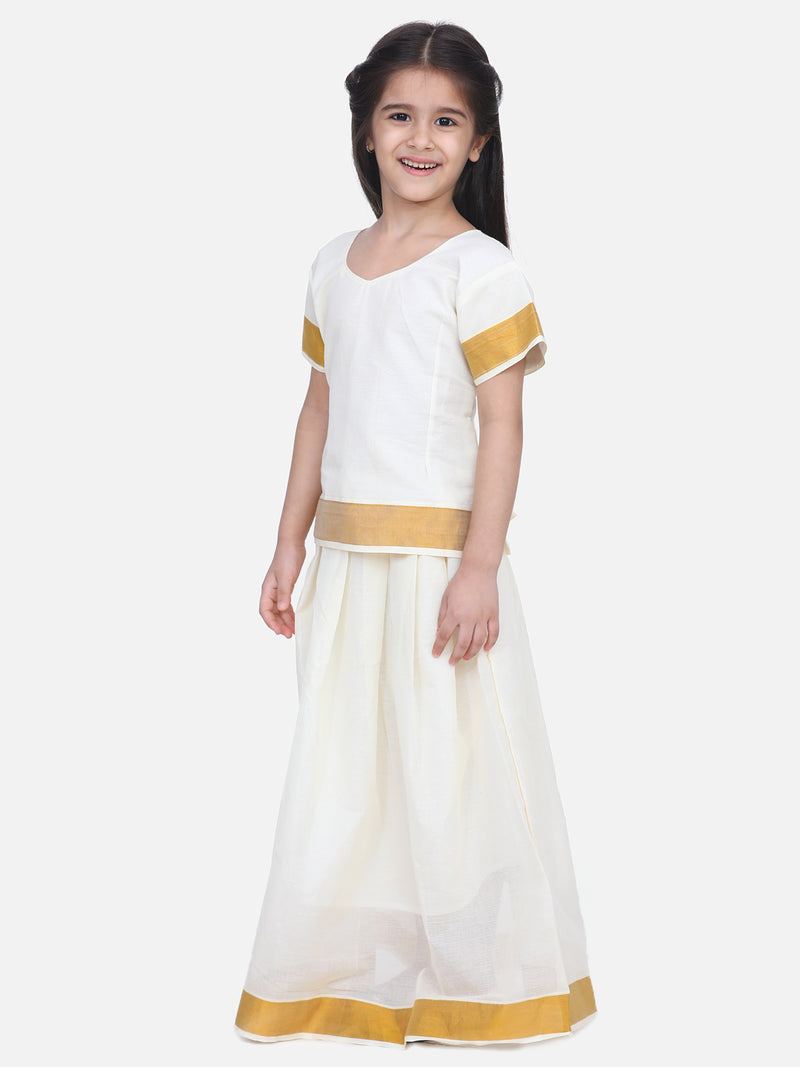 BownBee Girls Half Sleeve South Indian Pavda Pattu Lehenga