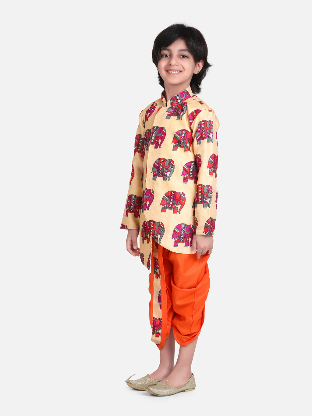 Hathi Print Full Sleeve Sherwani Dhoti- Orange