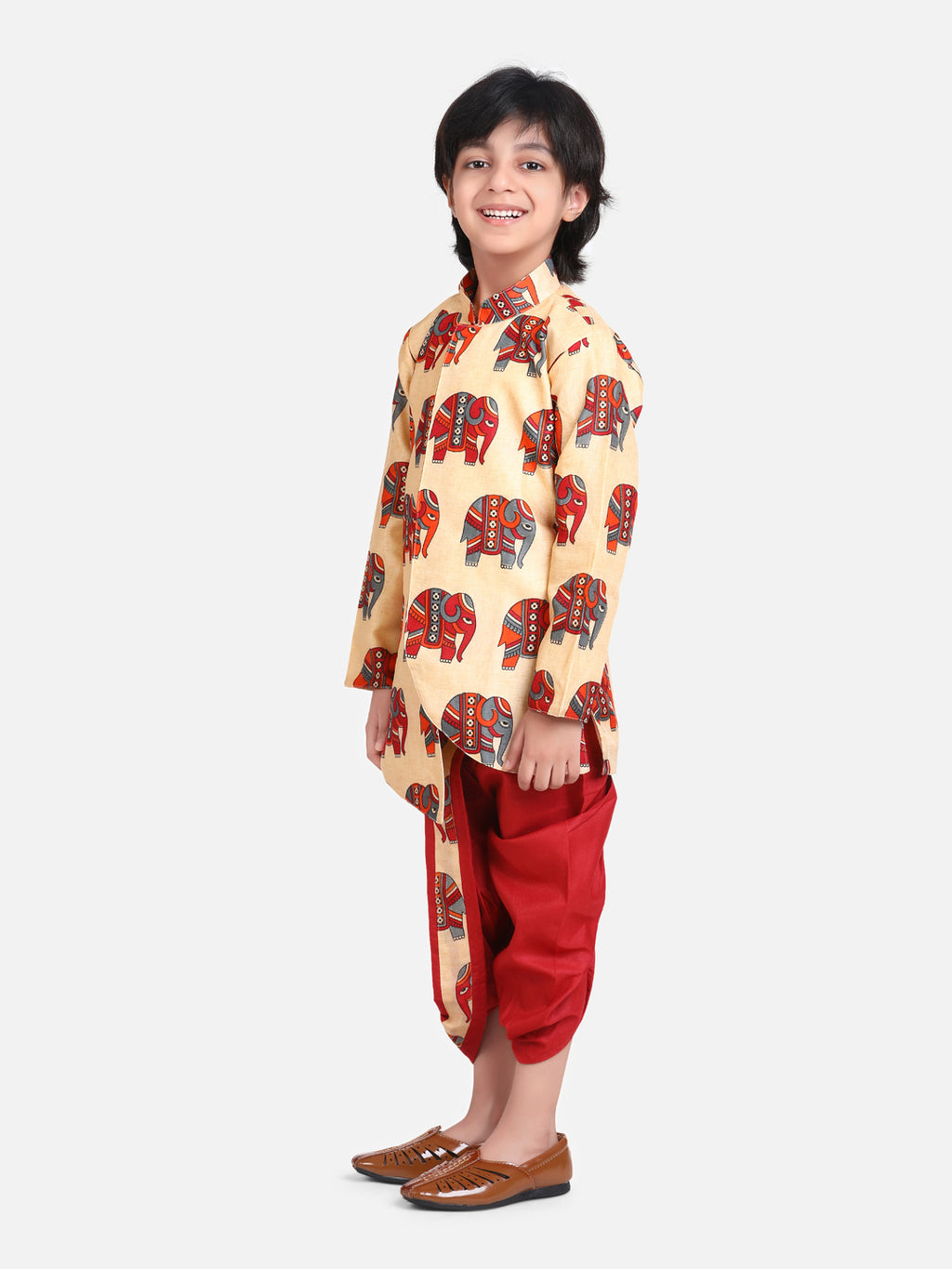 Hathi Print Full Sleeve Sherwani Dhoti-Red
