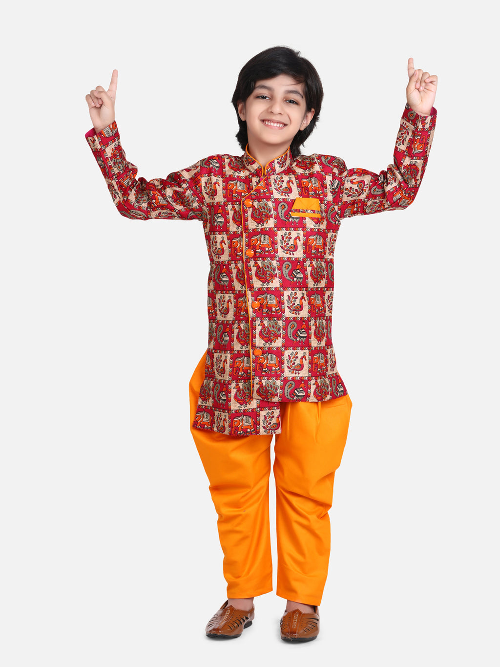 Mor Print Full Sleeve Sherwani Dhoti- Orange