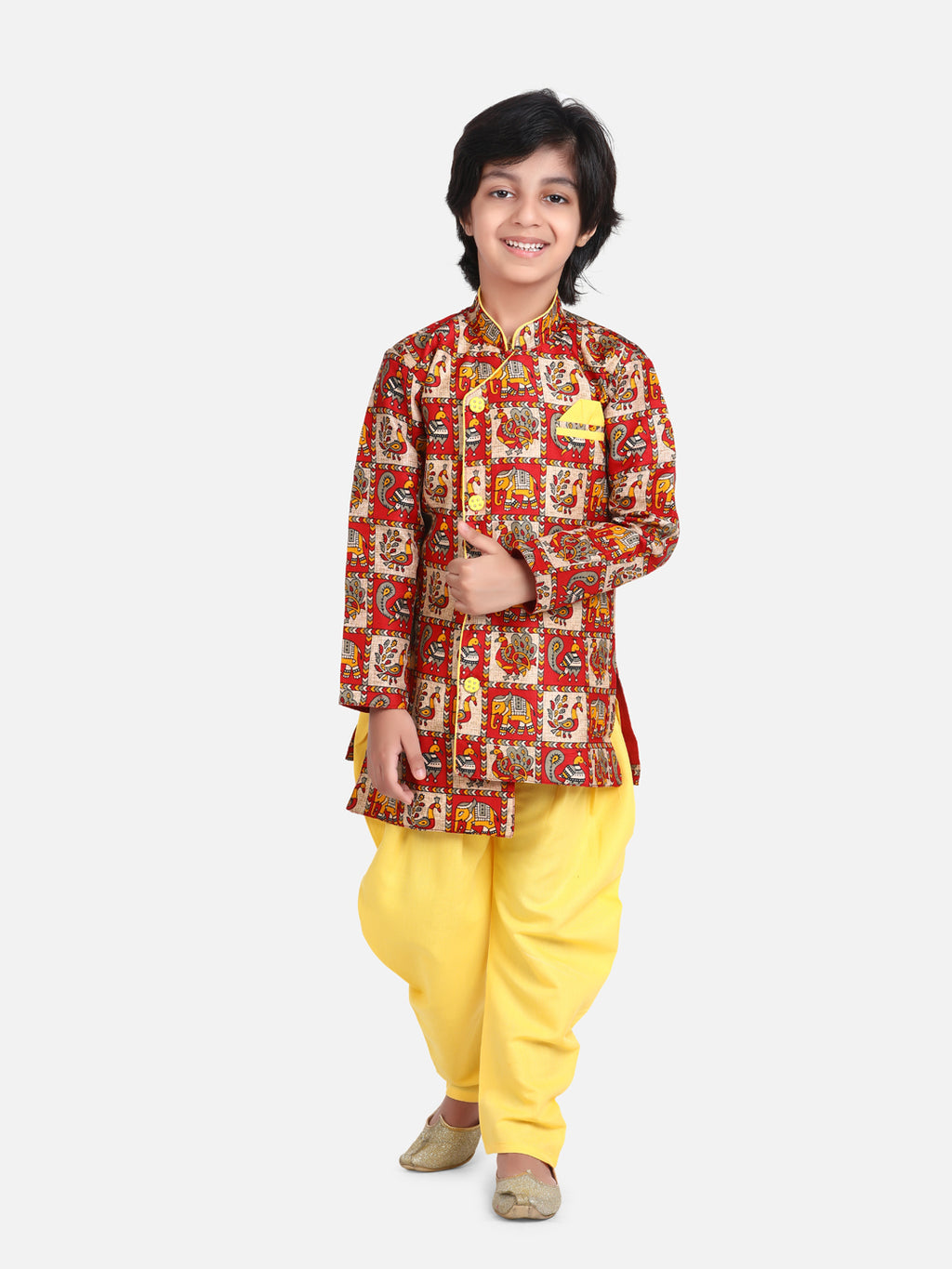 Mor Print Full Sleeve Sherwani Dhoti-Yellow