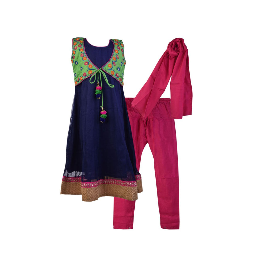 Anarkali Suit with embroidered Jacket NAVY BLUE - BownBee - Creating Special Moments