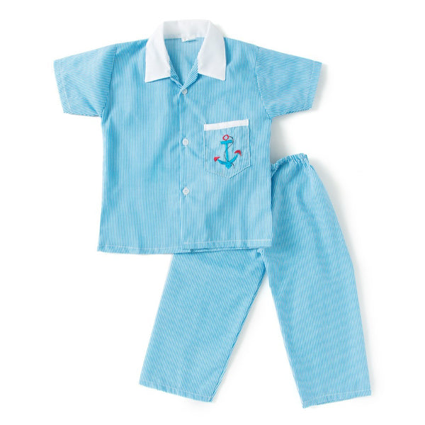 Half Sleeves Embroidered Collared Night Suit - Blue