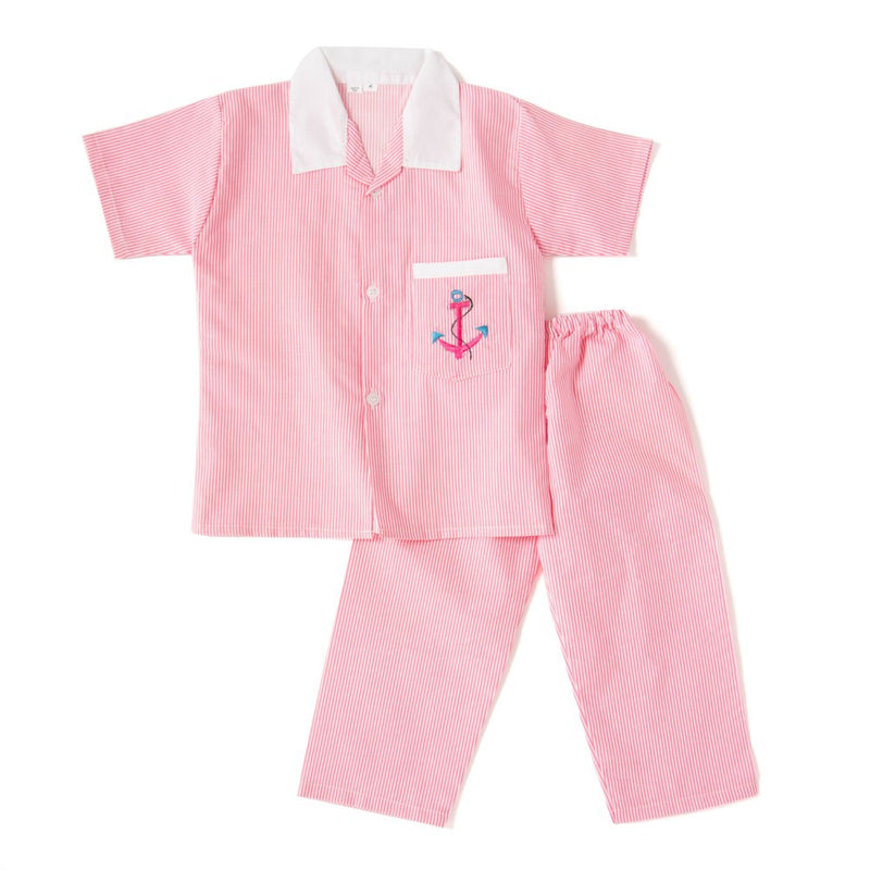 Half Sleeves Embroidered Collared Night Suit - Pink
