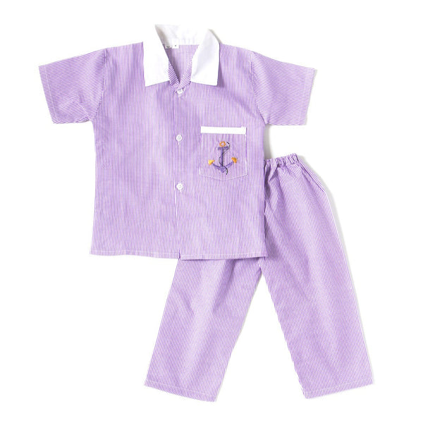 Half Sleeves Embroidered Collared Night Suit - Purple