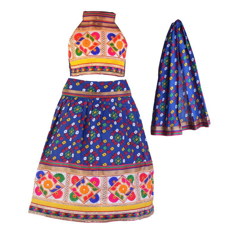 Traditional Gujrati Bandhej Chaniya Choli set Blue
