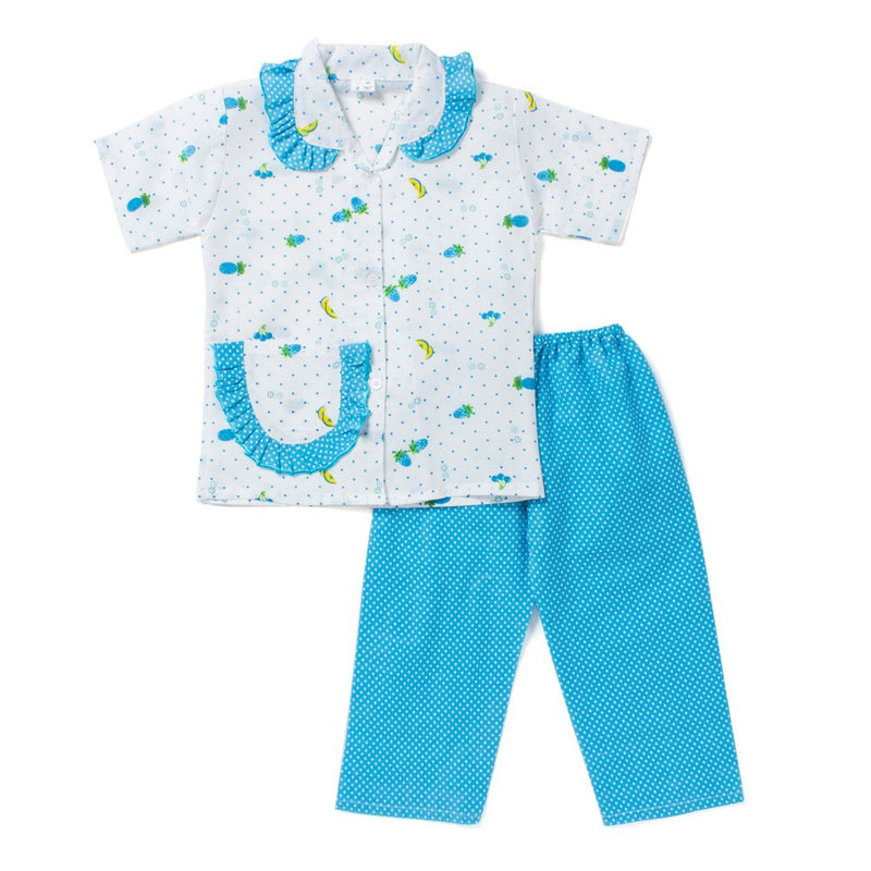 Half Sleeves Night Suit Polka Dot Fruit Print - Blue