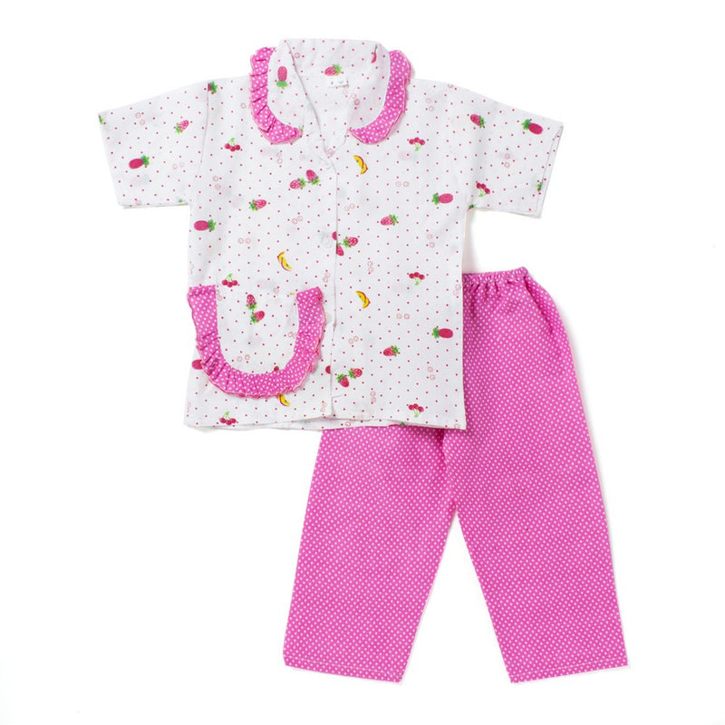 Half Sleeves Night Suit Polka Dot Fruit Print - Pink