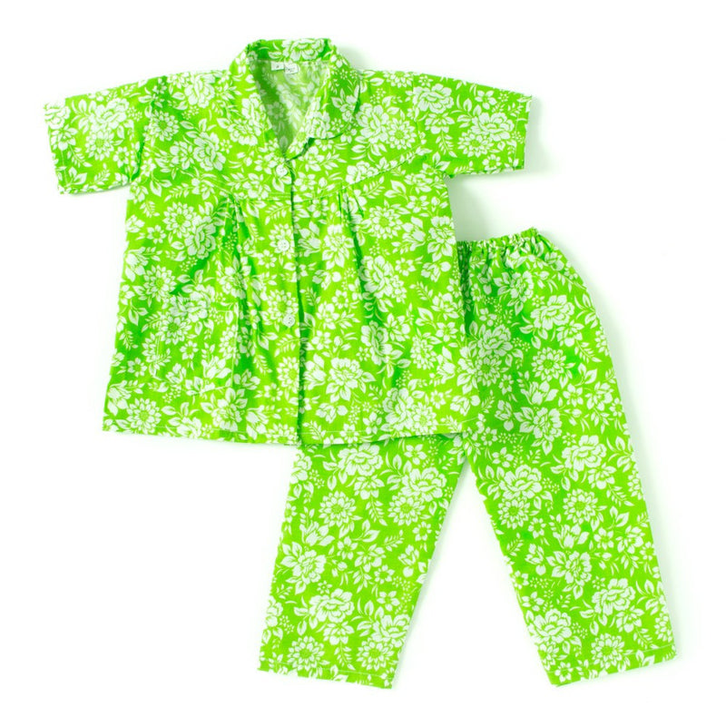 Half Sleeves Floral Print Night Suit - Green