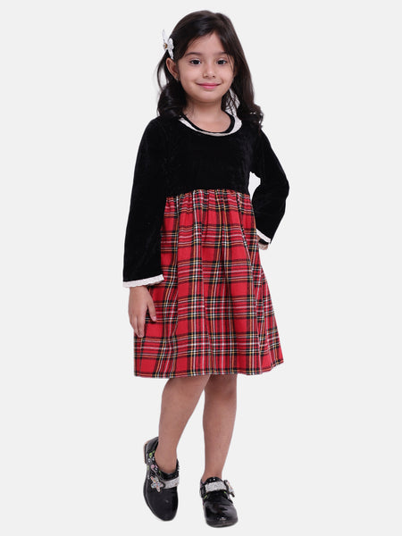 BownBee Girls Velvet Twill Full Sleeve Dress