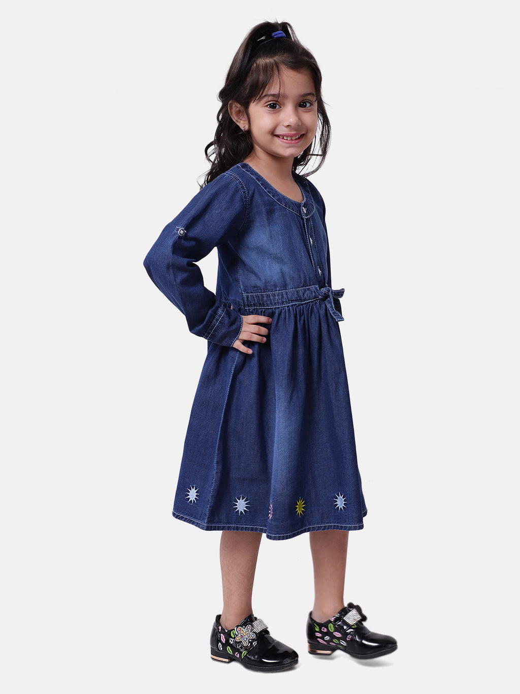 BownBee Girls Full Sleeve Denim Dress