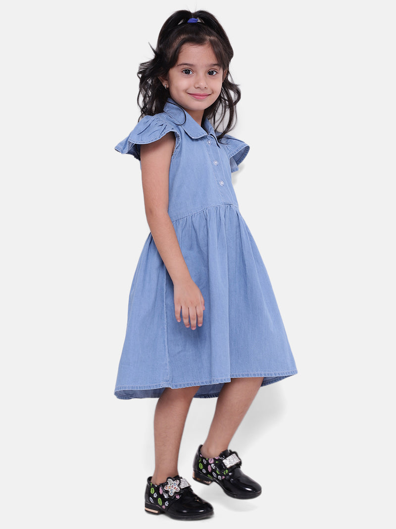 BownBee Girls Ruffle Sleeve Denim Dress