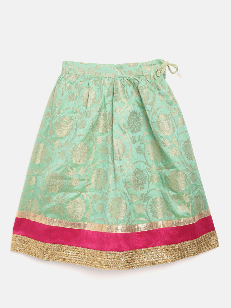Brocade Lehenga Full Sleeve Choli- Pink