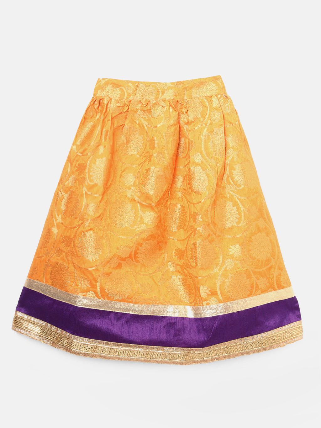 Brocade Lehenga Full Sleeve Choli- Purple