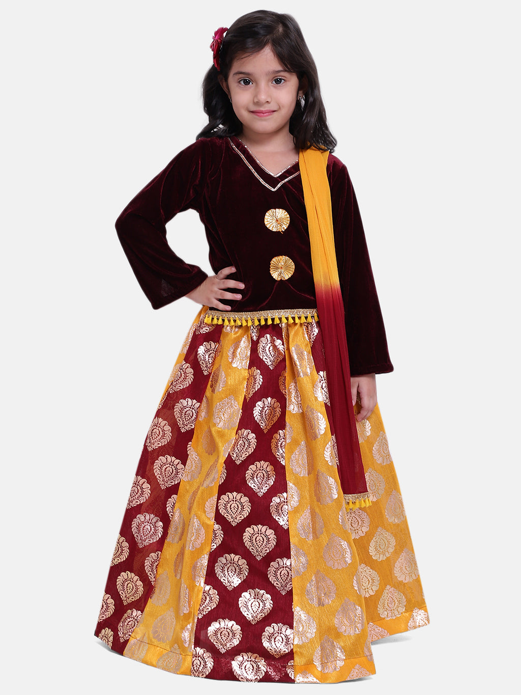 BownBee Girls Foil Print Lehenga With Velvet Choli