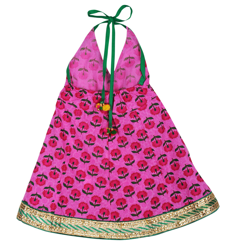 Jaipuri Marigold Print Cambric Cotton Halter Neck frocks for Baby Girl -Pink