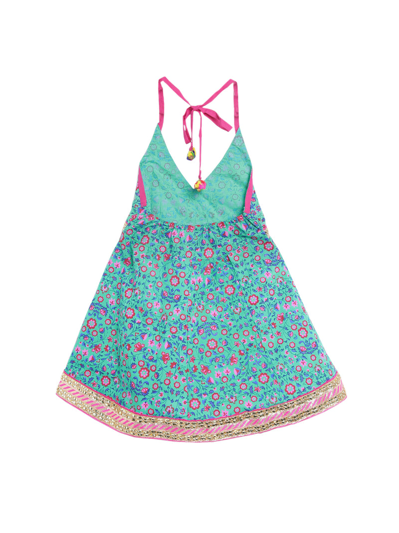 Jaipuri Marigold Print Cambric Cotton Halter Neck frocks for Baby Girl -Blue