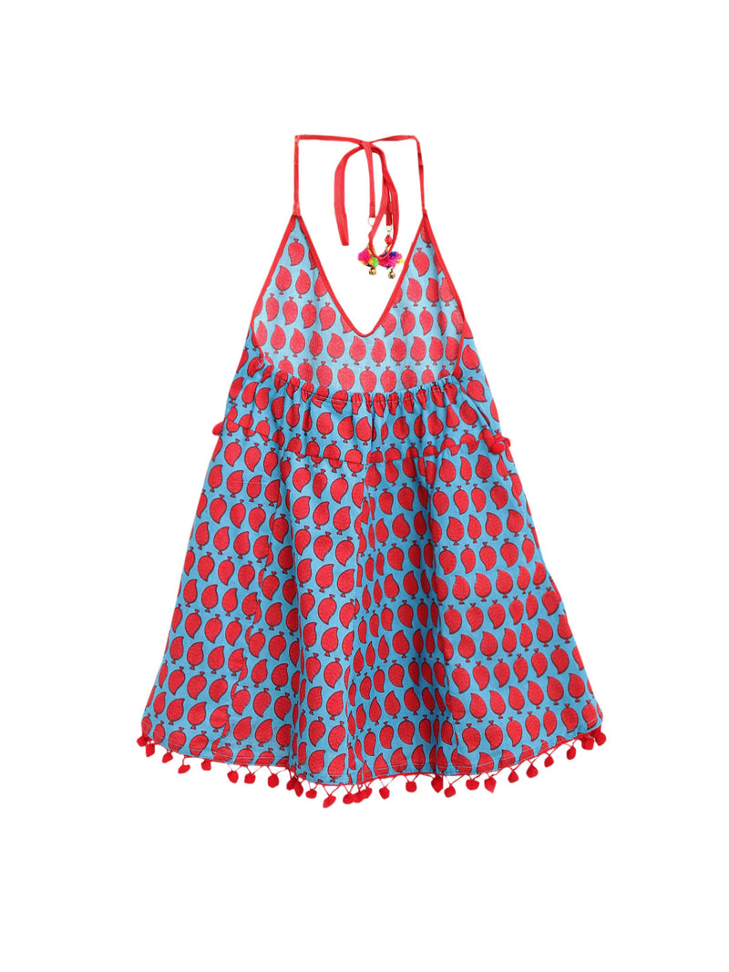 Jaipuri Marigold Print Cambric Cotton Halter Neck frocks for Baby Girl -Sky Blue