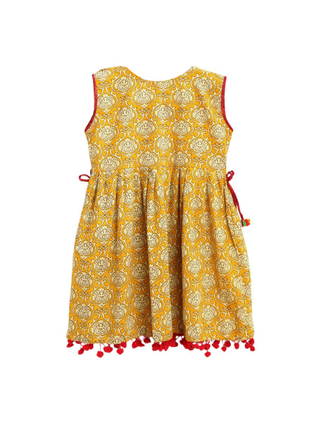 Sanganeri Print A-Line Cotton Frock- Yellow