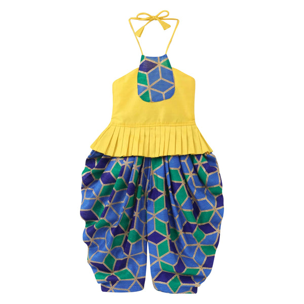 Geometrical Foil Print Grecian Neck Top Dhoti Set For Girls - Yellow