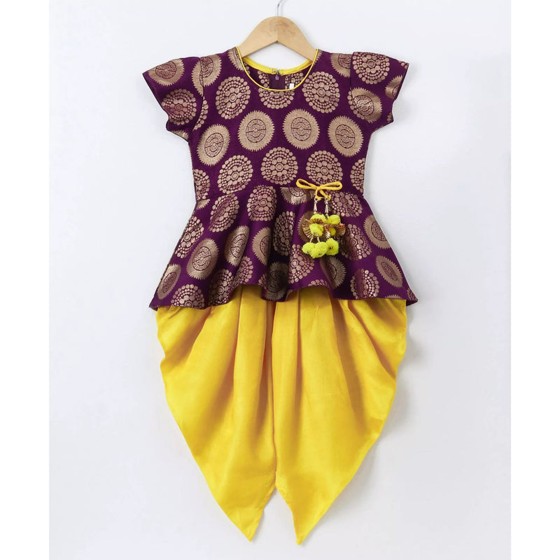 Ethnic Doll Jacquard Dhoti Peplum Top- Purple & Yellow - BownBee - Creating Special Moments