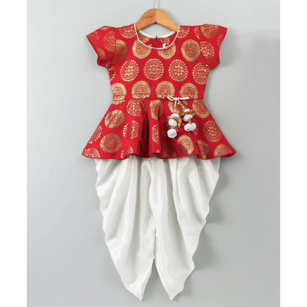 Ethnic Doll Jacquard Dhoti Peplum Top- Red & White