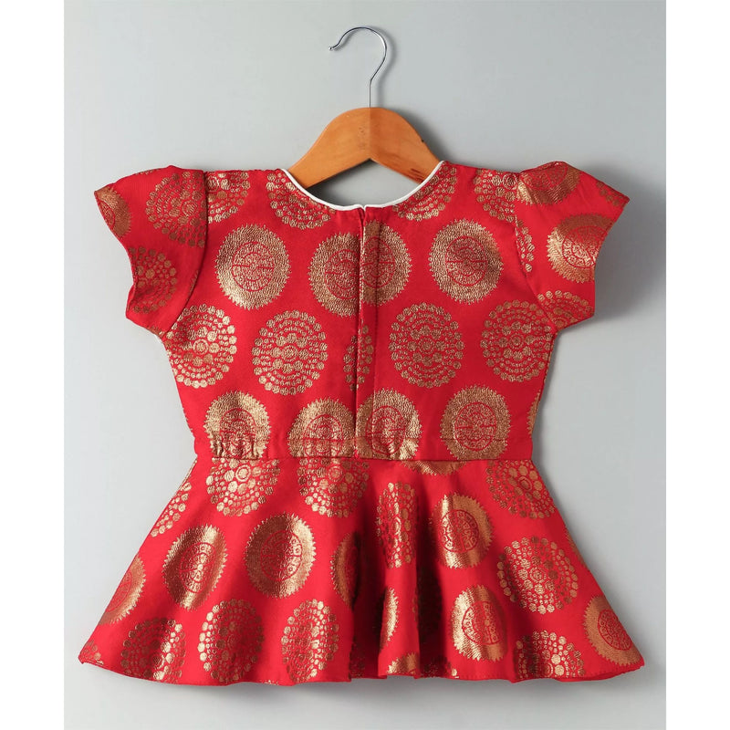 Ethnic Doll Jacquard Dhoti Peplum Top- Red & White - BownBee - Creating Special Moments