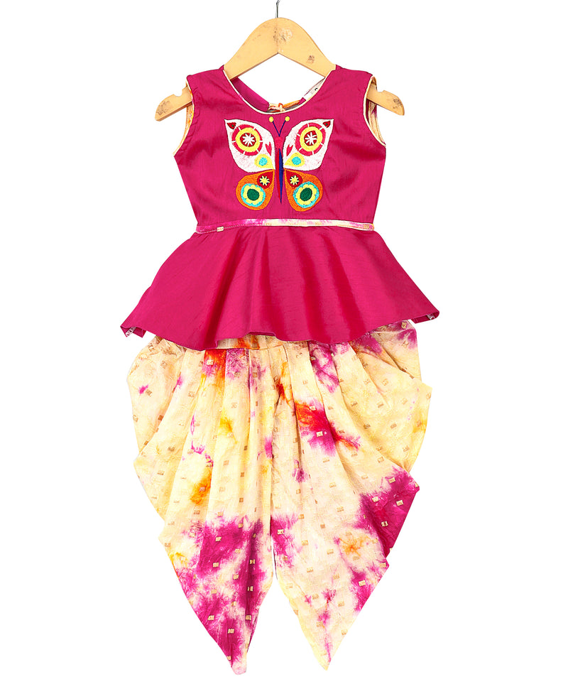 Butterfly Embroidery Peplum With Dyed Dhoti- Pink - BownBee - Creating Special Moments