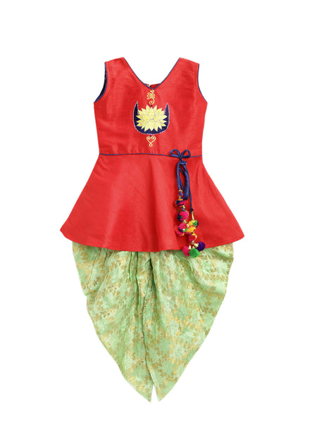 Lotus Embroidery Kurti With Dhoti- Red