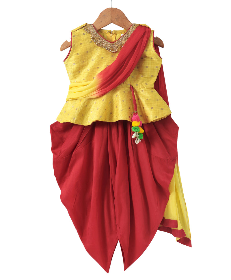 Attached Dupatta  Peplum With Dhoti- Yellow - BownBee - Creating Special Moments