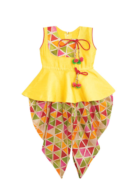 Triangle Print Peplum Dhoti Set- Yellow
