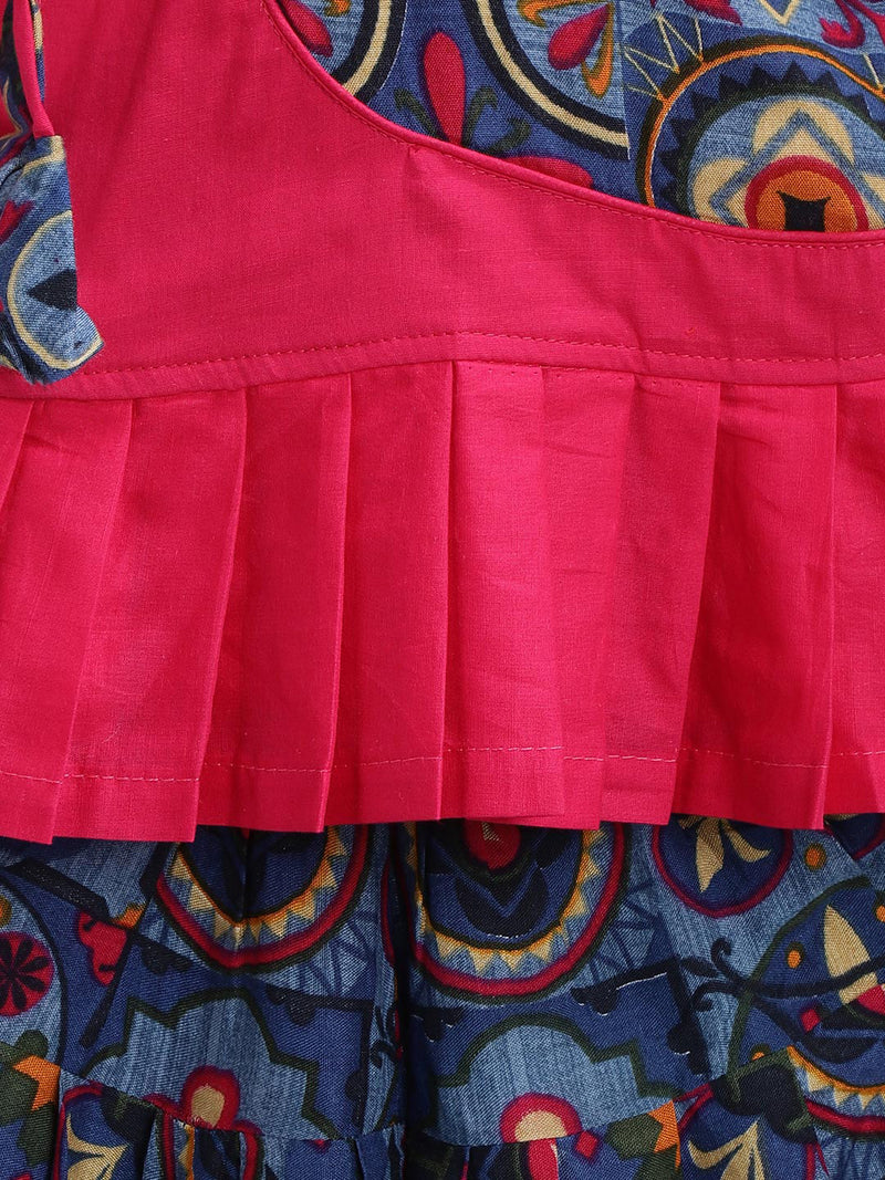 Patch Top With Printed Rayon Dhoti- Pink