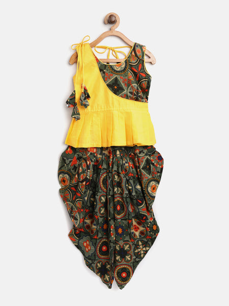Patch Top With Printed Rayon Dhoti- yellow
