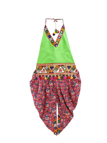 Patan Patola Kutch Embroidery Dhoti Top- Green