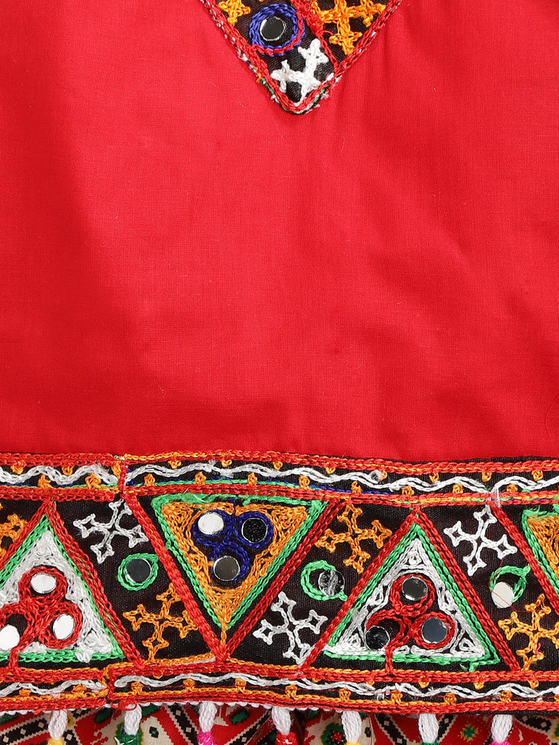 Patan Patola Kutch Embroidery Dhoti Top- Red