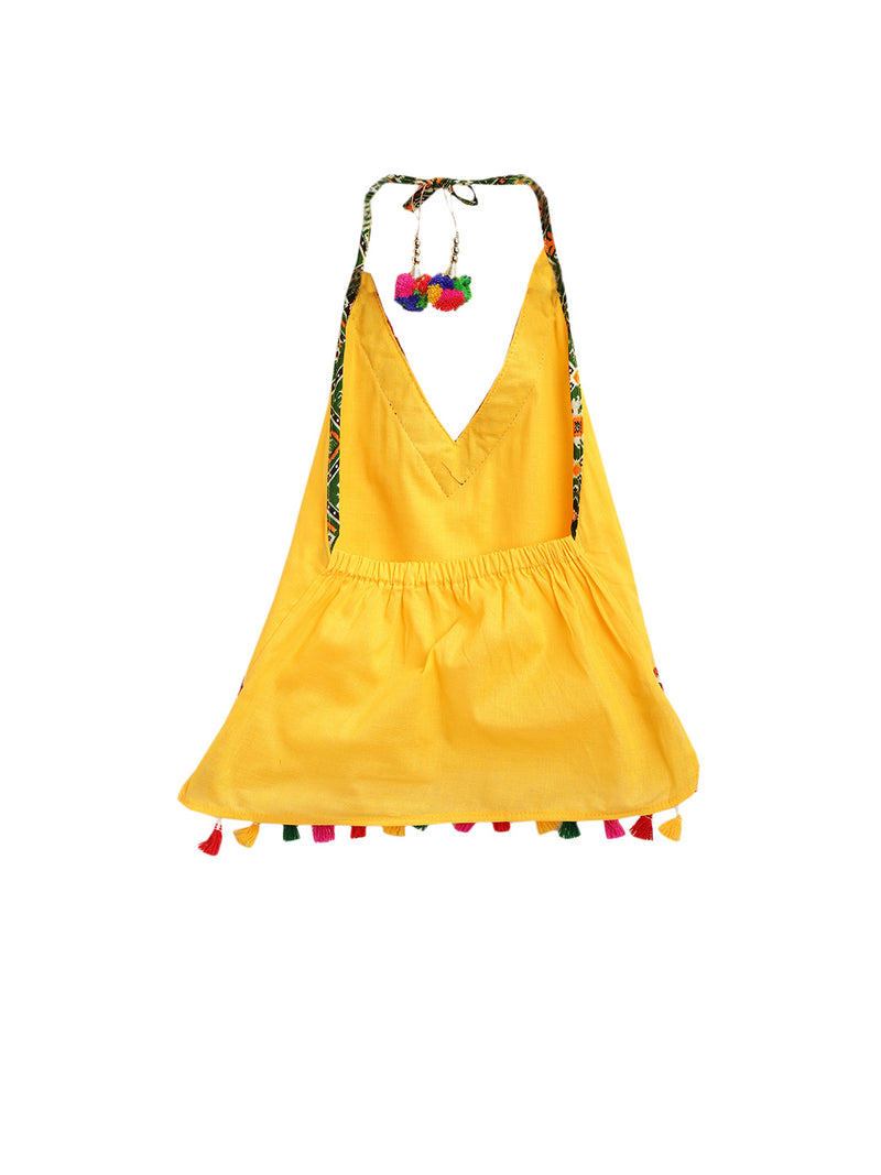 Patan Patola Kutch Embroidery Dhoti Top- Yellow