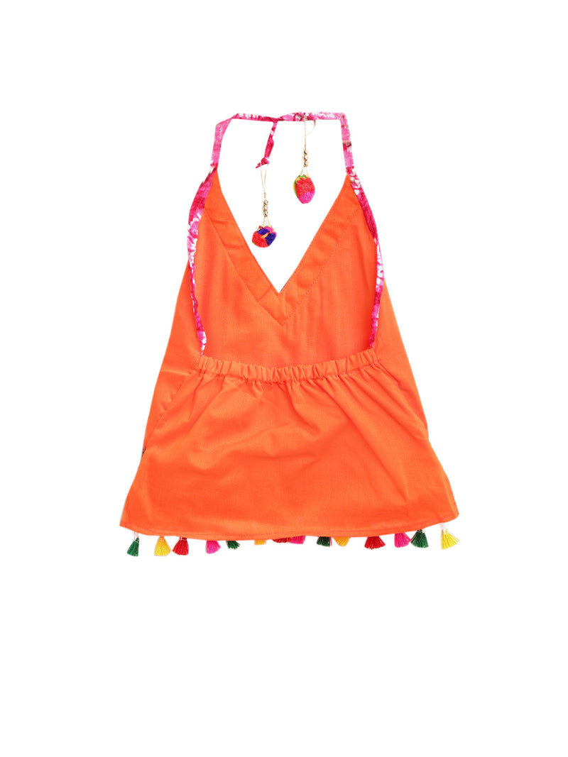 Shibori print dhoti with embroidered top - Orange